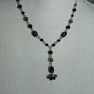 A Black and Crystal Bead Necklace